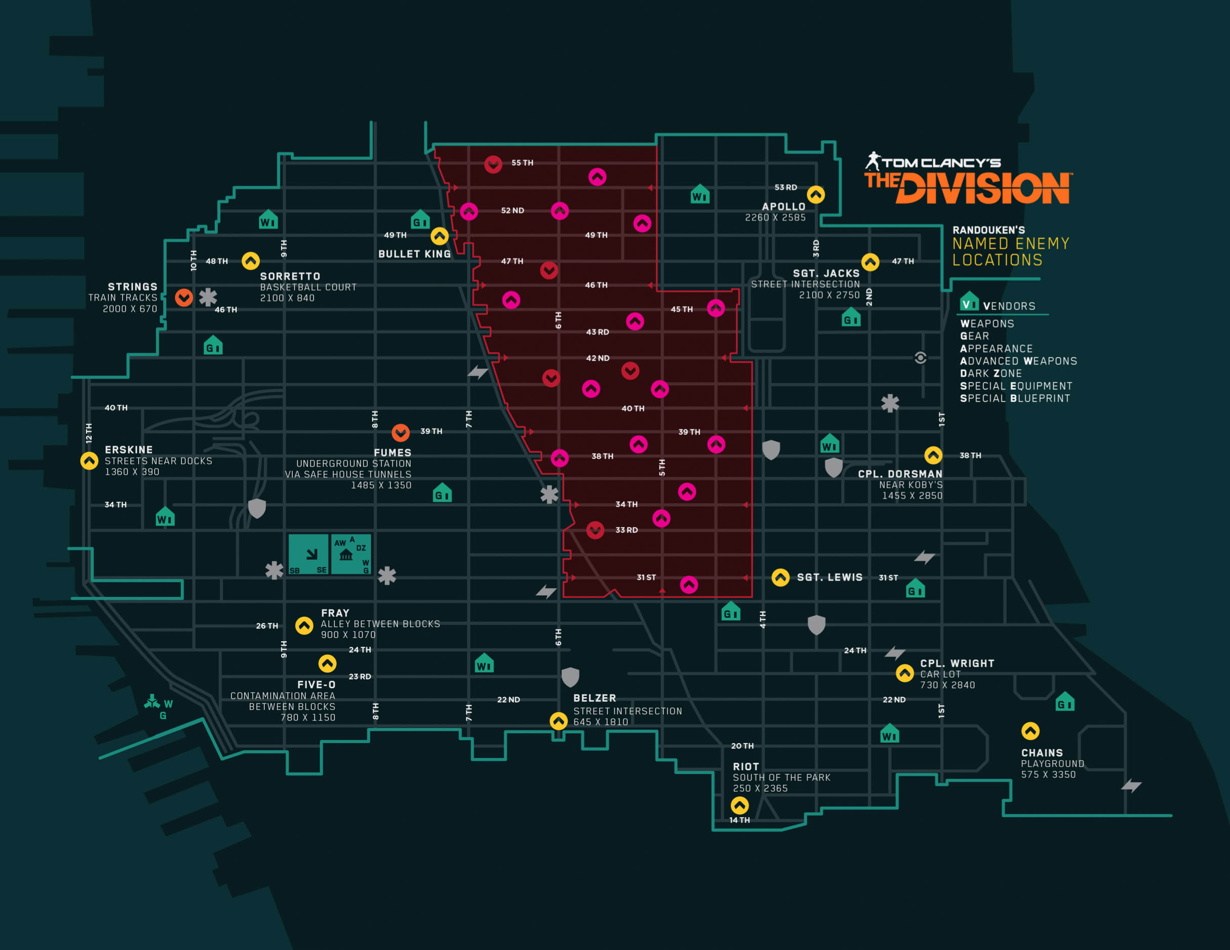 Map Of World Bosses In The Division.Named Bosses The Division Zone